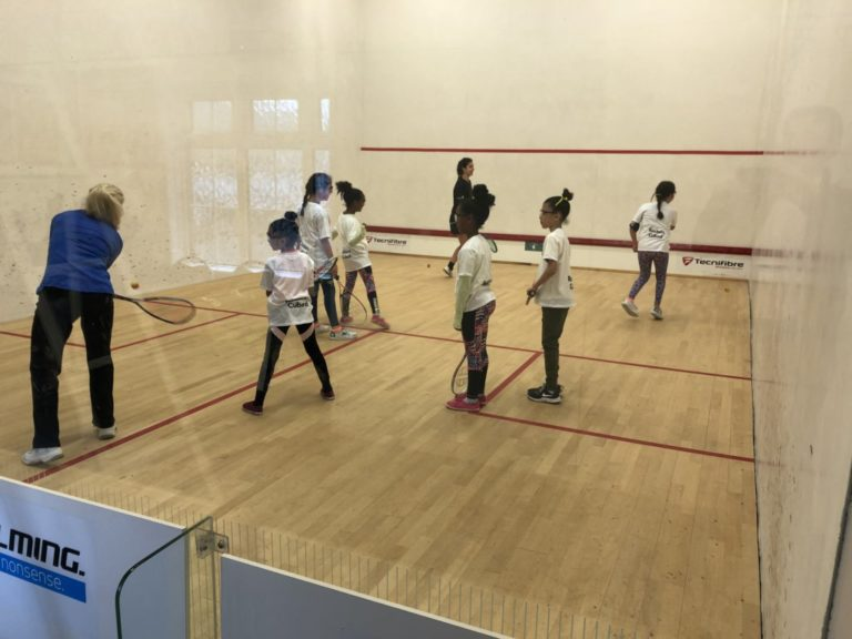Kids on squash court